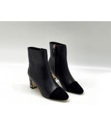 Ботильоны женские Chanel (Шанель) кожаные на каблуке на молнии Black