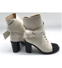 Женские ботинки Chanel (Шанель) кожаные на каблуке White/Black