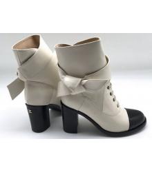Женские ботильоны Chanel (Шанель) кожаные на среднем каблуке White/Black