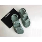 Женские летние сандалии Chanel (Шанель) кожаные на липучке Aquamarine