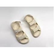 Женские летние сандалии Chanel (Шанель) кожаные на липучке White