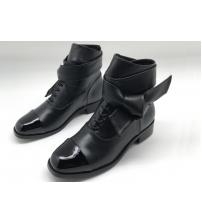 Женские ботинки Chanel (Шанель) кожаные на низком каблуке Black