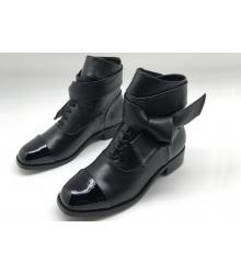 Женские ботильоны Chanel (Шанель) кожаные на низком каблуке Black
