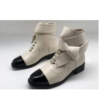 Женские ботинки Chanel (Шанель) кожаные на низком каблуке White/Black