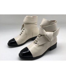 Женские ботильоны Chanel (Шанель) кожаные на низком каблуке White/Black