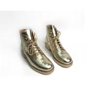 Женские ботинки Chanel (Шанель) кожаные на шнуровке Gold