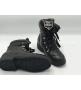 Женские ботинки Chanel (Шанель) кожаные на шнуровке на низком каблуке Black