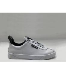Женские кроссовки Chanel (Шанель) кожаные на шнуровке с логотипами White