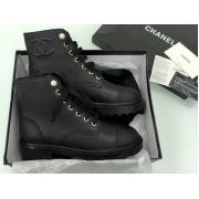 Ботинки женские Chanel (Шанель) кожаные на шнуровке с логотипом Black