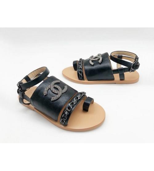 Женские сандалии Chanel (Шанель) кожаные регулируемые ремни с цепочкой Black