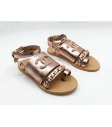 Женские сандалии Chanel (Шанель) кожаные регулируемые ремни с цепочкой Gold