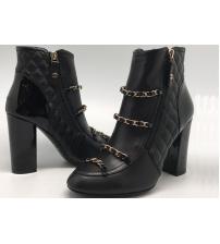 Ботинки женские Chanel (Шанель) кожаные с цепочкой Black