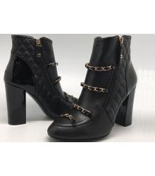 Женские ботильоны Chanel (Шанель) кожаные на каблуке с цепочками Black