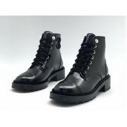 Ботинки женские Chanel (Шанель) кожаные с логотипом на шнуровке Black