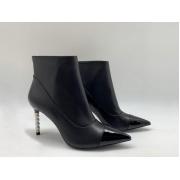 Ботильоны женские Chanel (Шанель) кожаные с молнией каблук шпилька Black