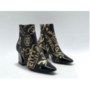 Ботильоны женские Chanel (Шанель) кожаные с молнией принт лого Black