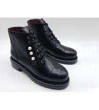 Женские ботинки Chanel (Шанель) кожаные с жемчугом Black