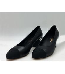 Женские туфли Chanel (Шанель) кожаные с жемчугом Black