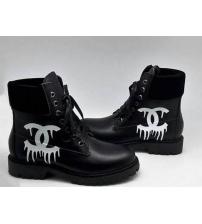 Женские ботинки Chanel (Шанель) кожаные со шнурками Black