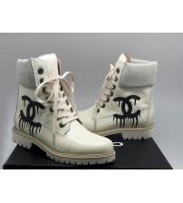 Женские ботинки Chanel (Шанель) кожаные со шнурками White