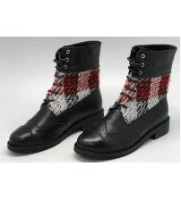 Женские ботинки Chanel (Шанель) кожаные со шнуровкой Black/Red