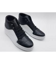 Женские кроссовки Chanel (Шанель) кожаные высокие White/Black
