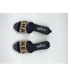 Женские шлепки Chanel (Шанель) летние комбинированные на каблуке Beige/Black