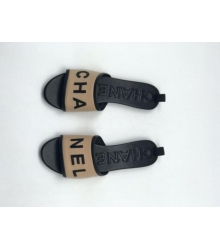 Женские шлепки Chanel (Шанель) летние комбинированные на каблуке Beige