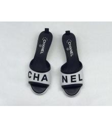 Женские шлепанцы Chanel (Шанель) летние комбинированные на каблуке White/Black