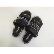 Шлепанцы женские Chanel (Шанель) летние комбинированные на липучках Black