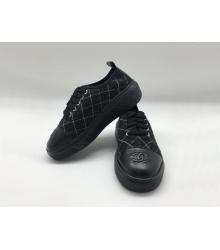 Женские кеды Chanel (Шанель) летние комбинированные шнурках Black
