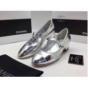 Женские туфли Chanel (Шанель) летние кожаные каблук небольшой Silver
