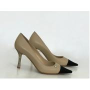 Женские туфли Chanel (Шанель) летние кожаные каблук шпилька Beige/Black
