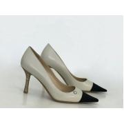 Женские туфли Chanel (Шанель) летние кожаные каблук шпилька Gray/Black
