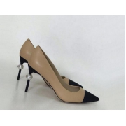 Женские туфли Chanel (Шанель) летние кожаные каблук шпилька с жемчугом Beige/Black
