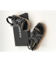Женские сандалии Chanel (Шанель) летние кожаные на липучке Black