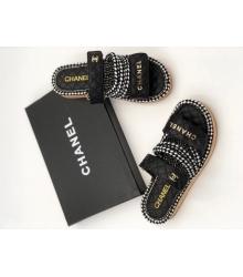 Женские шлепки Chanel (Шанель) летние кожаные на липучке Black