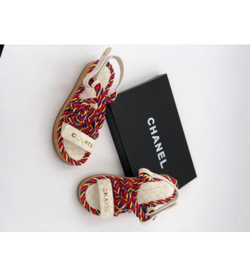 Женские сандалии Chanel (Шанель) летние кожаные на липучке Red