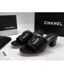 Женские сандалии Chanel (Шанель) летние кожаные на среднем каблуке Black