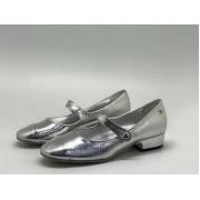 Женские туфли Chanel (Шанель) летние кожаные небольшой каблук Silver