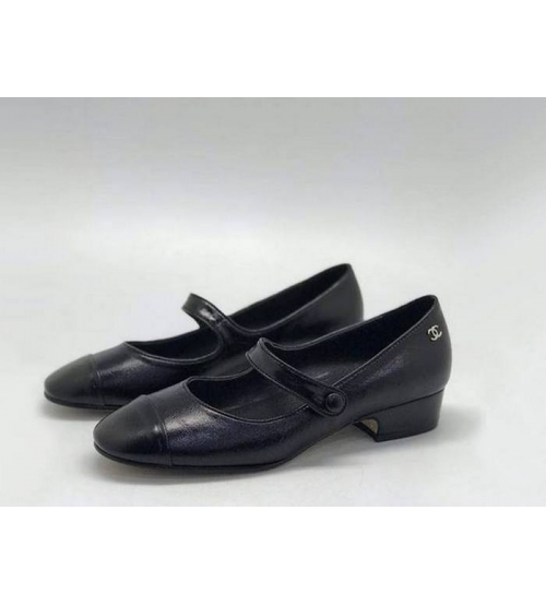 Женские туфли Chanel (Шанель) летние кожаные небольшой каблук Black