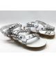 Женские сандалии Chanel (Шанель) летние кожаные с цепью White