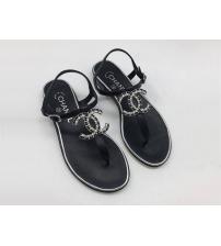 Женские сандалии Chanel (Шанель) летние кожаные с лого Black
