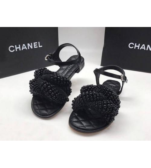 Женские сандалии Chanel (Шанель) летние кожаные с жемчугом Black