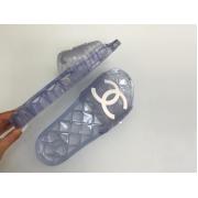 Шлепанцы женские Chanel (Шанель) летние прозрачные резиновые Blue