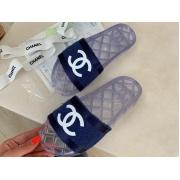 Шлепанцы женские Chanel (Шанель) летние текстиль Blue