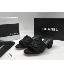 Женские сандалии Chanel (Шанель) летние текстиль на среднем каблуке Black