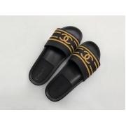 Шлепанцы женские Chanel (Шанель) летние текстиль резиновые Black/Beige