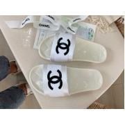 Шлепанцы женские Chanel (Шанель) летние текстиль White