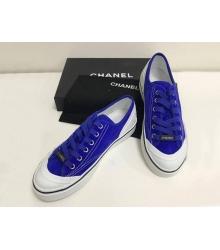 Женские кеды Chanel (Шанель) летние замшевые на шнурках Blue